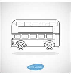 Retro city double decker london bus line icon vector