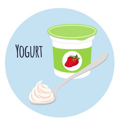 strawberry yogurt in plastic cup milk cream vector image vector image