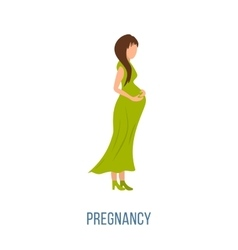 Beautiful pregnant woman in a long dress vector image vector image