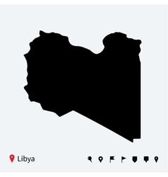 High detailed map of Libya with navigation pins vector image vector image