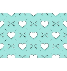 Seamless pattern with hearts and arrows on a vector image