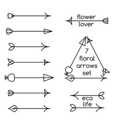Set of floral arrows line art and logo examples vector image vector image