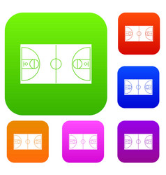 basketball field set collection vector image