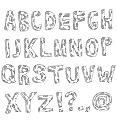 hand drawn spotted alphabet vector image
