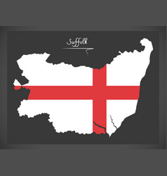 Suffolk map england uk with english national flag vector