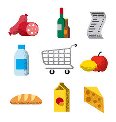 supermarket flat icons vector image