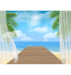 View of the sea beach and the wooden jetty vector image vector image