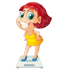 A fat girl above the weighing scale vector image vector image