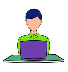 businesswoman using laptop icon cartoon vector image