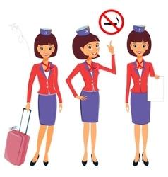 Cheerful cartoon flight attendant in uniform vector image
