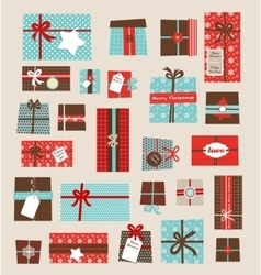 Collection of colorful Christmas present vector image vector image