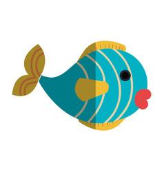 Cute fish pet icon vector