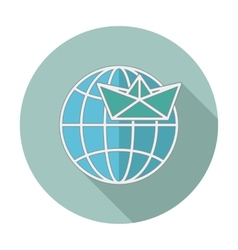 Flat icon with long shadow Earth globe and ship vector image