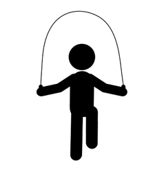 person jumping rope pictogram icon vector image