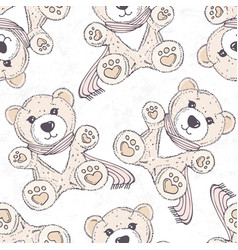 seamless pattern with hand drawn bear cartoon vector image vector image
