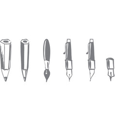 writing instruments pencil automatic fountain pen vector image