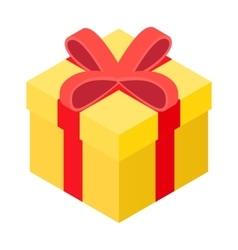 Yellow present box isometric icon vector image vector image