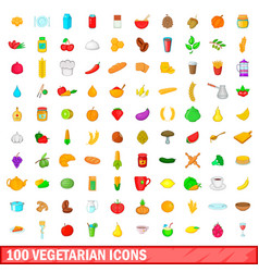100 vegetarian icons set cartoon style vector
