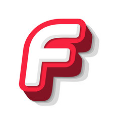 3d bold funny letter f heavy type for modern vector