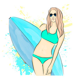 a girl on a summer break vector image