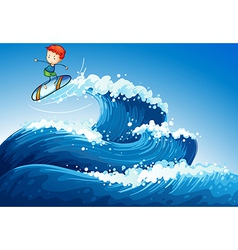 A little boy surfing at the sea vector image
