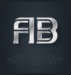 Ab - metallic 3d icon or logotype template a and vector