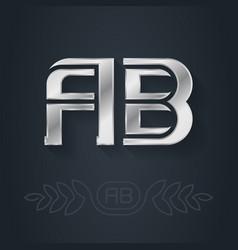 Ab - metallic 3d icon or logotype template vector