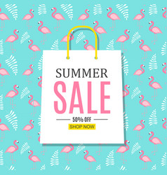 abstract summer sale background with shopping bag vector image