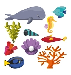 Algae coral fish oyster whale shell and sea horse vector