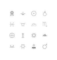 Astrology linear thin icons set outlined simple vector