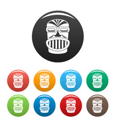 aztec wood idol icons set color vector image