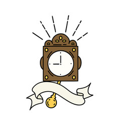Banner with tattoo style ticking clock vector