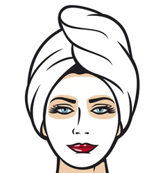 Beautiful young woman getting facial mask vector