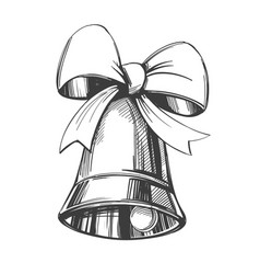 Bell with bow hand drawn vector