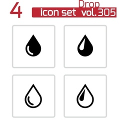 black drop icons set vector image