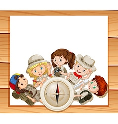 Border design with children in camping outfit vector image