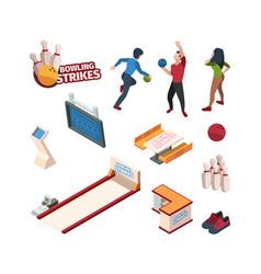 bowling sport isometric balls skittles game vector image