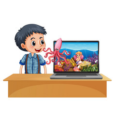 Boy next to laptop on table with space theme vector