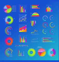 business diagram chart with graphs set vector image