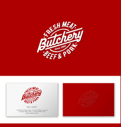 butchery logo premium emblem oval badge vector image