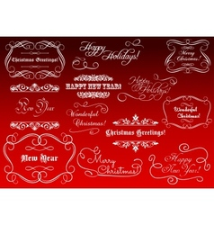Calligraphic elements for Christmas holidays vector