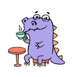 cartoon purple croc drinking coffee vector image