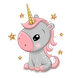 Cartoonl unicorn with gold horn isolated on a vector