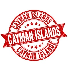 Cayman Islands red round grunge vintage ribbon vector
