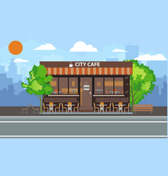 central cafe building exterior with summer terrace vector image