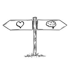 Choose love or brain logic or emotion hand vector