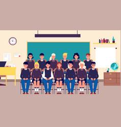 class group portrait classmates student in vector image