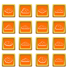 clouds icons set orange vector image
