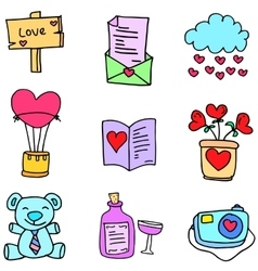 Collection stock of object love doodles vector