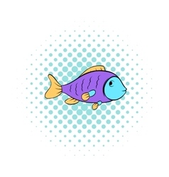 Colorful fish icon comics style vector